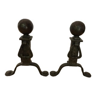 Antique Cannonball Cast Iron Fireplace Andirons Fire Dogs For Sale