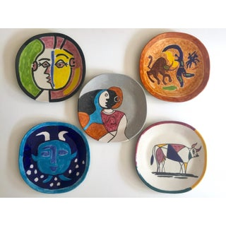 Vintage Mid Century Modern Rare Picasso Style Hand Painted Art Pottery Large Ceramic Plates - Set of 5 Preview