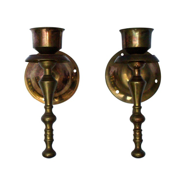 Victorian Gothic Regency Deco Brass Candle Sconces - Image 1 of 11
