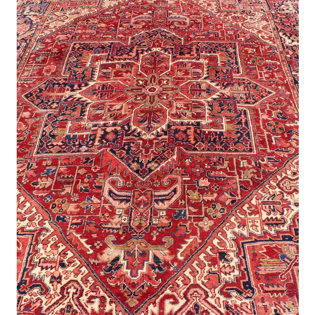 Textile 1950s Vintage Persian Heriz Red Medallion Rug - 8′ × 11′9″ For Sale - Image 7 of 13