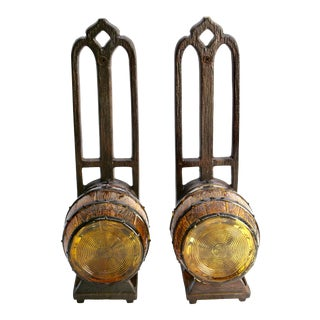 1930s Tavern Wall Sconces With Keg Shade - a Pair For Sale