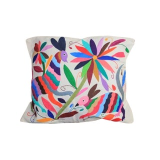 Multicolor Otomi Hand-Stitched Pillow For Sale