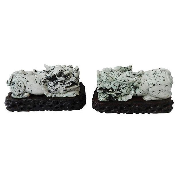 Vintage Spinach Jade Foo Dogs With Stand - A Pair - Image 3 of 7