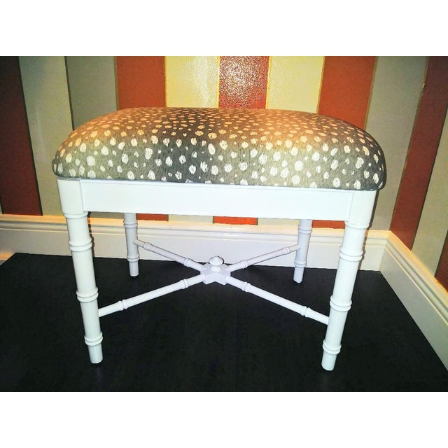 Fabric Vintage Faux Bamboo White Gloss Palm Beach Regency Bench Ottoman W/ Ocelot Fabric For Sale - Image 7 of 8