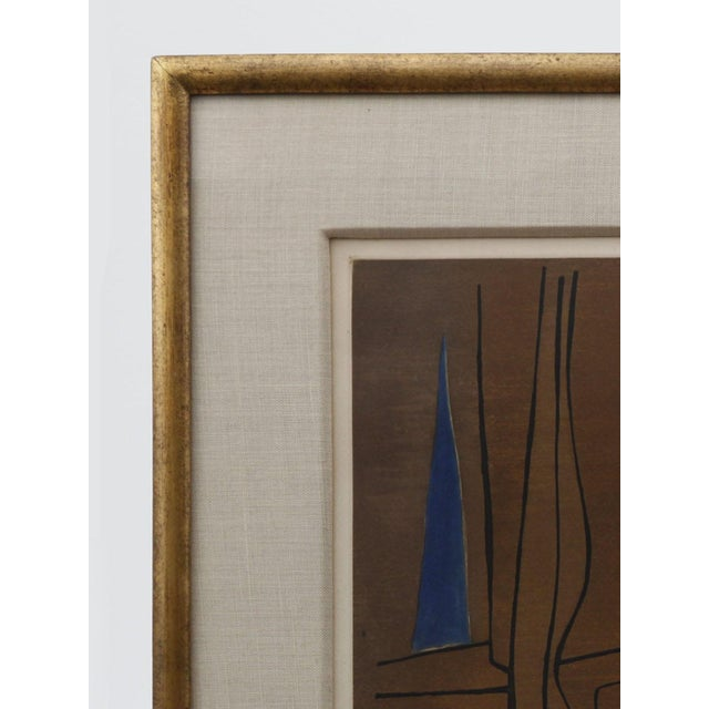 1960s Brown, Blue, and Orange Abstract Print - Image 4 of 5