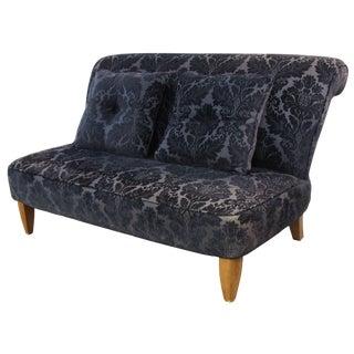 Century Furniture Armless Black Flocked Loveseat For Sale