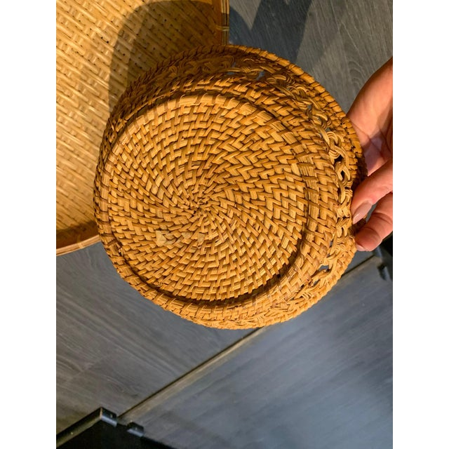 Boho Chic Mid 20th Century Vintage Boho Chic Rattan Basket Trio Collage - Set of 3 For Sale - Image 3 of 5