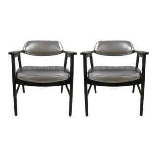 Mid 20th Century Armchairs in the Manner of Edward Wormley Captains Chairs - a Pair For Sale