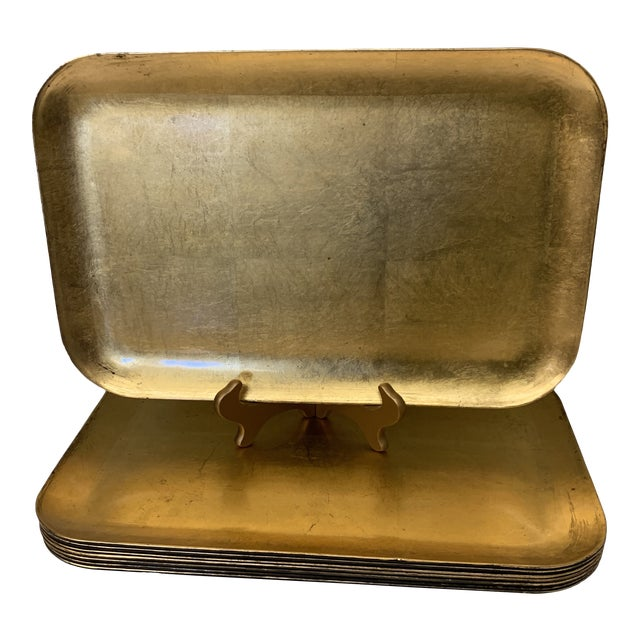 Large Gold Leaf Otajiri Trays Chargers - Set 8 For Sale