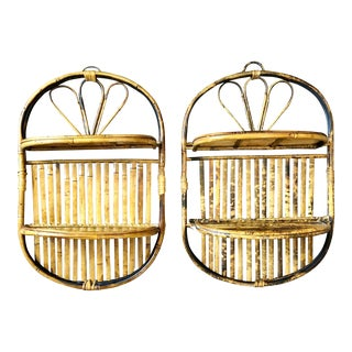 Vintage Tortoise Shell Bamboo Rattan Wall Shelves - a Pair For Sale