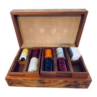 Italian Mark Cross Poker Chip Wood Box Set For Sale