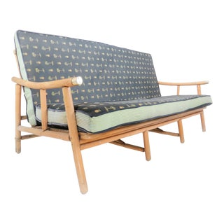 1950s John Wisner for Ficks Reed Campaign Rattan Sofa / Settee For Sale