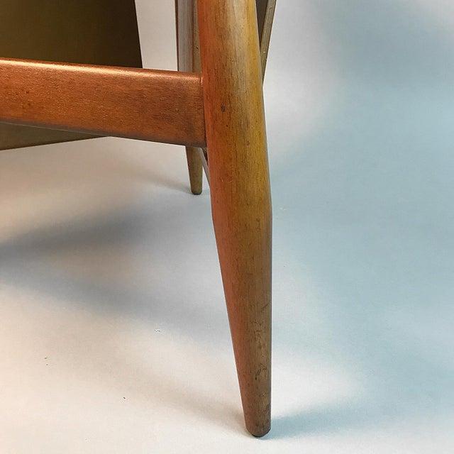 Brass Edward Wormley for Dunbar Wedge Shaped Magazine Table in Sap Walnut & Malabar For Sale - Image 7 of 9