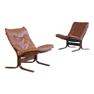 Pair of Siesta Sling Chairs in Cappuccino Leather by Ingmar Relling for Westnofa