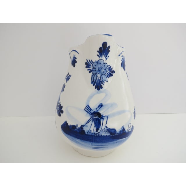 Cottage Delft Blue & White Pitcher For Sale - Image 3 of 7