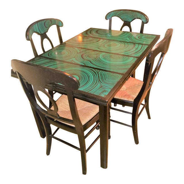 1970s Mid Century Faux Malachite Dining Set 5 Piece Set 1 Table 4 Chairs 2 Leaves All Matching! For Sale