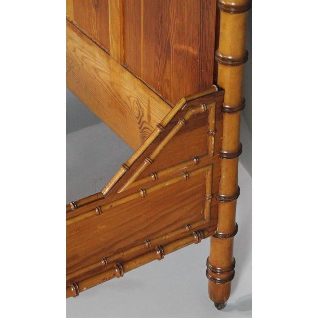 Late 19th Century 19th Century Chinoiserie Faux Bamboo 3/4 Bedframe For Sale - Image 5 of 7
