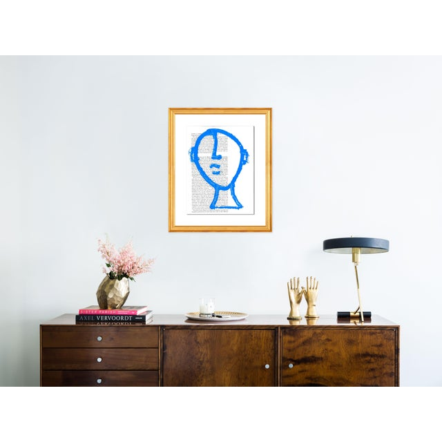 Contemporary Man on the Moon by Virginia Chamlee in Gold Frame, Small Art Print For Sale - Image 3 of 4