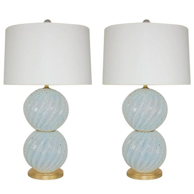 Vintage Murano White Opaline Glass Table Lamps For Sale - Image 12 of 12