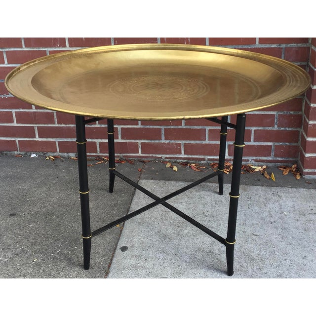 Brass Tray Table With Faux Bamboo Stand For Sale - Image 10 of 10