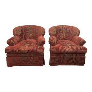 1990s Vintage Stickley Upholstered Club Chairs- A Pair For Sale
