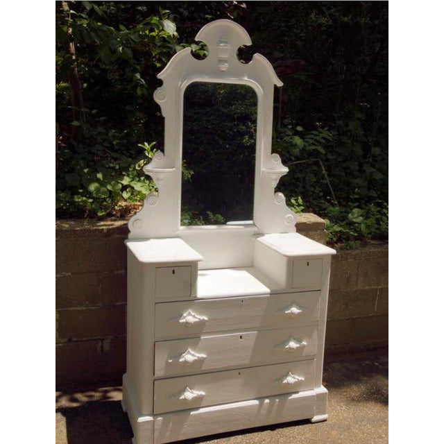 1870's cottage chest of drawers with mirror in flat white. 79 h 39 w 17 h