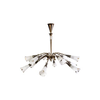 Mid-Century Genet Et Michon Chandelier With Shades
