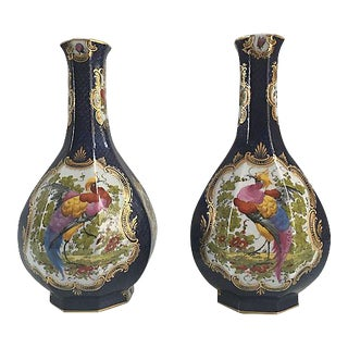 Antique Birds of Paradise Blue Vases - A Pair For Sale