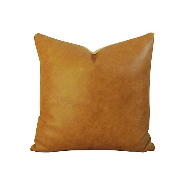 Genuine Italian Golden Tan Leather Pillows - Pair - Image 4 of 4