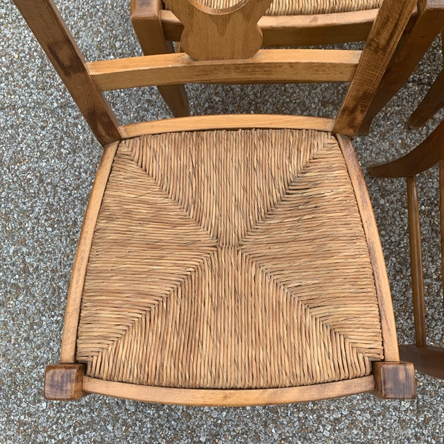 Boho Chic Pottery Barn Natural Wood Finish Rush Seat Chairs - Set of 6 For Sale - Image 3 of 12