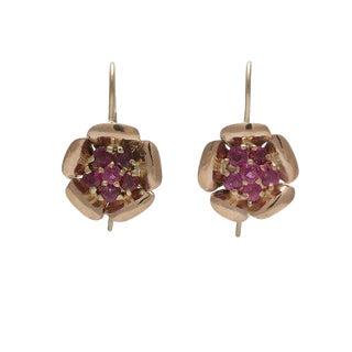 Retro 14k Gold Ruby Flower Pierced Earrings For Sale