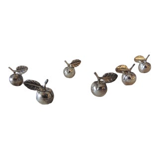 Vintage Stainless Steel Dinner Table Place Card Holders For Sale
