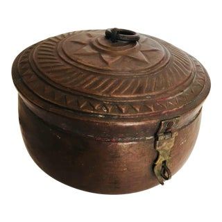 Early 20th Century Antique Decorative Round Copper Box For Sale