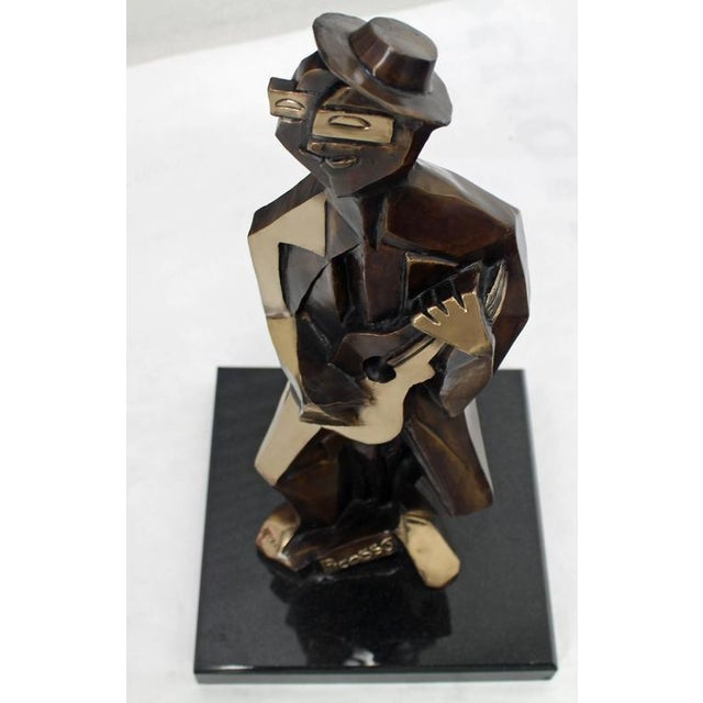Mid-Century Modern Bronze Abstract Guitarist Sculpture after Picasso Numbered For Sale - Image 3 of 9