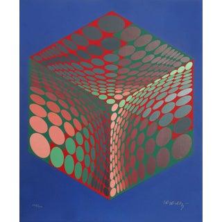 "1970s Victor Vasarely, ""Parmenide"", Op Art Screenprint For Sale"