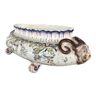 19th Century French Faience Oval Jardiniere For Sale