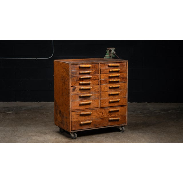 1960s Vintage Industrial Machinist Cabinet With Bench Vise For Sale - Image 5 of 11