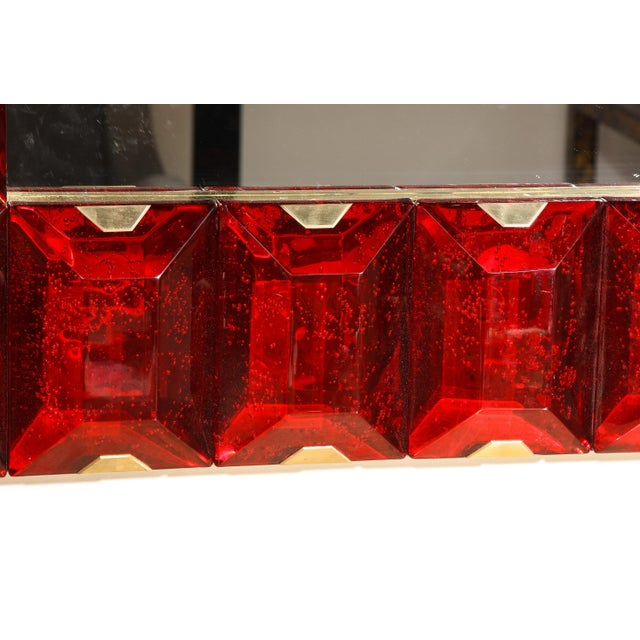 Large Murano Glass Block Mirror For Sale - Image 10 of 12