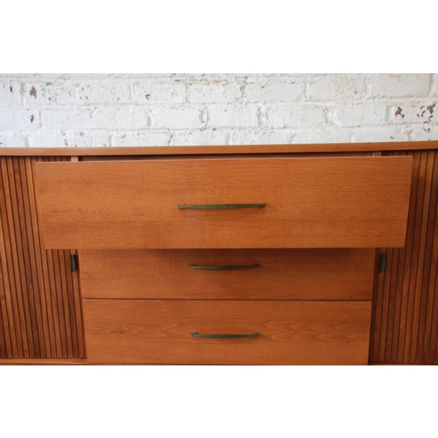 Mid-Century Modern Tambour Door Sideboard Credenza with Glass Front Hutch Top For Sale - Image 10 of 11