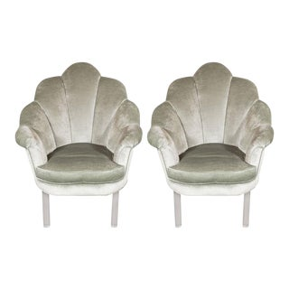 1940s Hollywood Shell Occasional Chairs with Channel Tufting and Lucite Legs For Sale