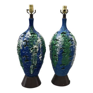 1970 Mid-Century Modern Blue and Green Ceramic Table Lamps - a Pair