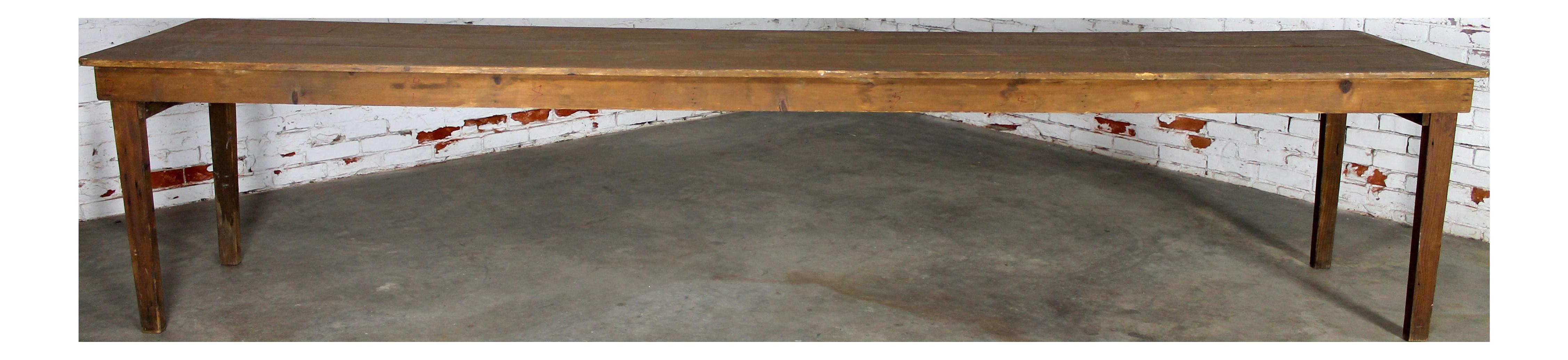 Antique Primitive Pine Harvest Table
