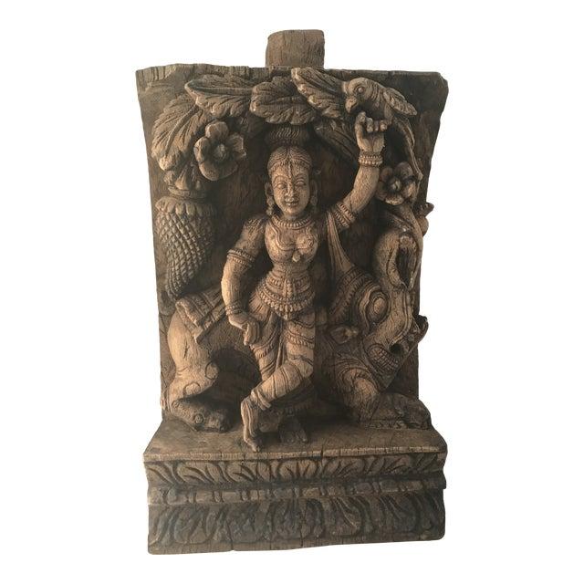Carved Wooden Icon of Vishnu Goddess For Sale