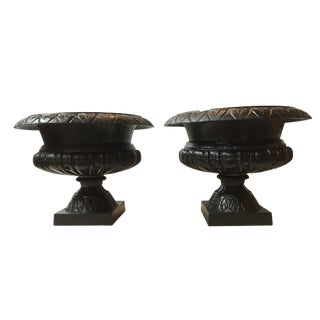 Classical Iron Black Planters Pair