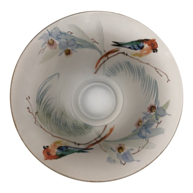 Hand Painted Parrots and Floral Glass Decorative Bowl For Sale