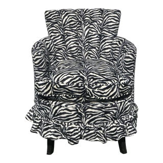 Vintage Slipper Chair, Newly Upholstered in Zebra Print For Sale