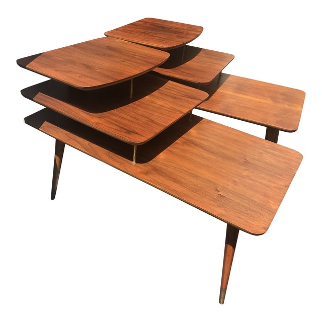 Mid-Century Modern 3 Tier Wood/Brass Side Tables - a Pair For Sale