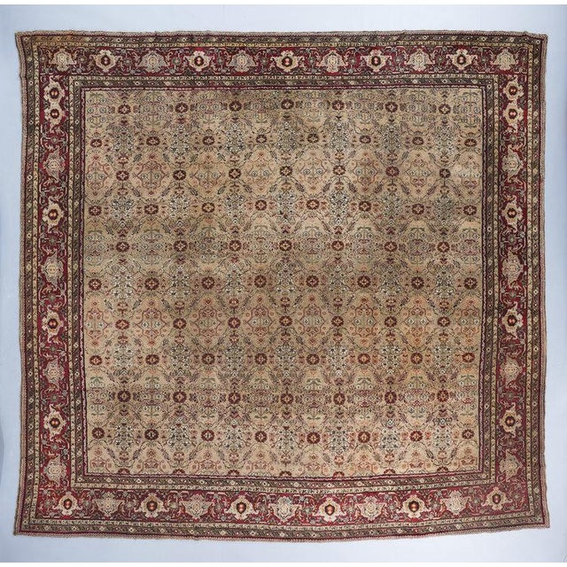 Beige Ground Square Agra Carpet For Sale In Los Angeles - Image 6 of 6