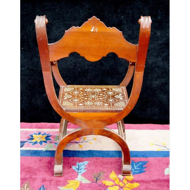 Moroccan Inlaid Savonarola Chair - Image 4 of 11