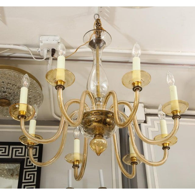 Italian Amber Eight-Arm Murano Glass Chandelier For Sale - Image 3 of 8